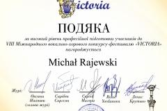 """Podziękowania dla Michała Rajewskiego w VIII INTERNATIONAL VOCAL AND CHORAL ON-LINE COMETITION AND FESTIVAL """"VICTORIA"""" in Kyiv"""