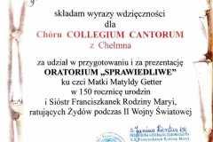 """Podziękowania za udział w Oratorium """"Sprawiedliwe"""" w Archikatedrze Warszawskiej"""